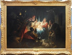 The Adoration of the Magi - 19th Century Oil Painting Nativity Jesus