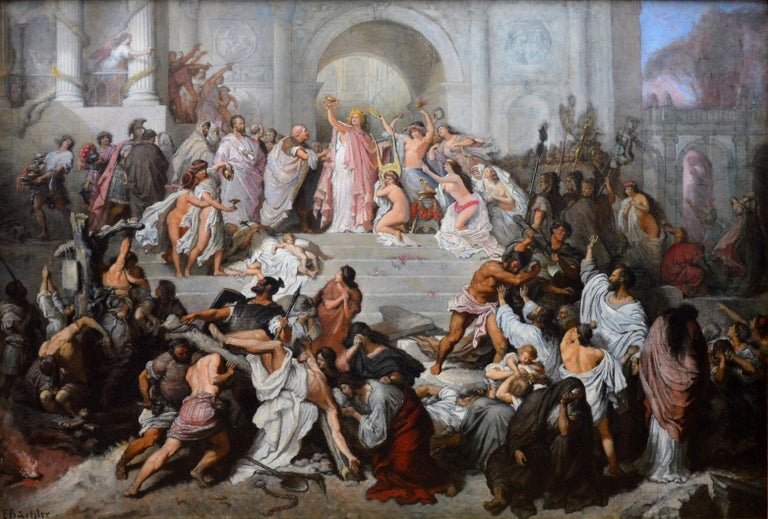 A large fine 19th century oil on canvas depicting the famous events of AD64 and 'The Great Fire of Rome' with the triumphant Emperor Nero and his attendants - including Seneca and the Praetorian Guard – looking-on as St Peter and others are