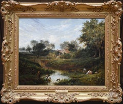 19th Century English Summer Landscape with Figures by a Stream