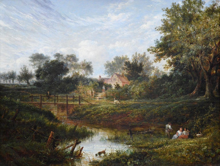 19th Century English Summer Landscape with Figures by a Stream - Victorian Painting by Benjamin Shipham