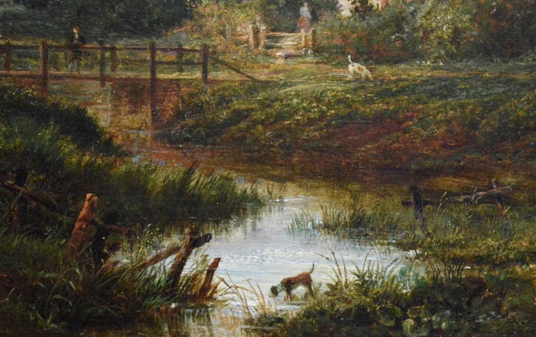 19th Century English Summer Landscape with Figures by a Stream For Sale 4