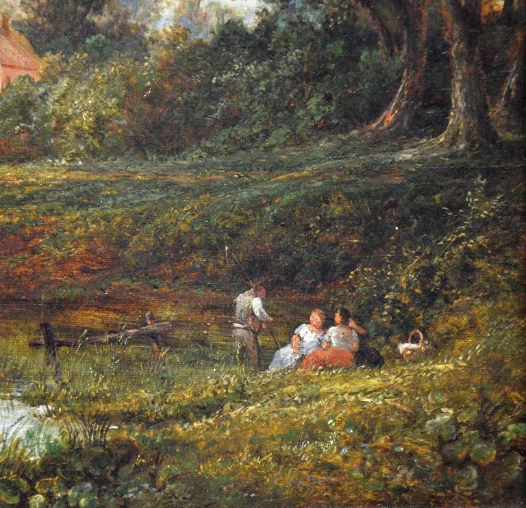 This is a fine 19th century oil on canvas depicting numerous figures and two dogs by a bridge over a stream on a summer afternoon by the eminent Victorian painter Benjamin Shipham (1805-1872). The painting is signed by the artist verso and hangs in