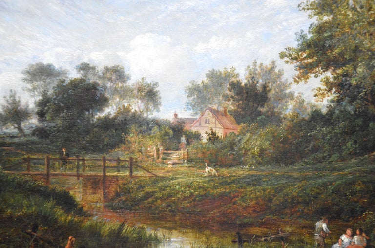19th Century English Summer Landscape with Figures by a Stream For Sale 1