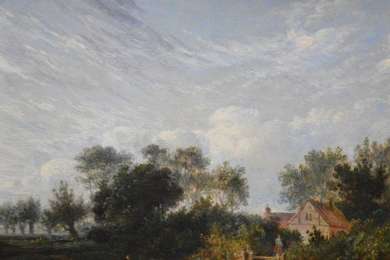 19th Century English Summer Landscape with Figures by a Stream For Sale 2