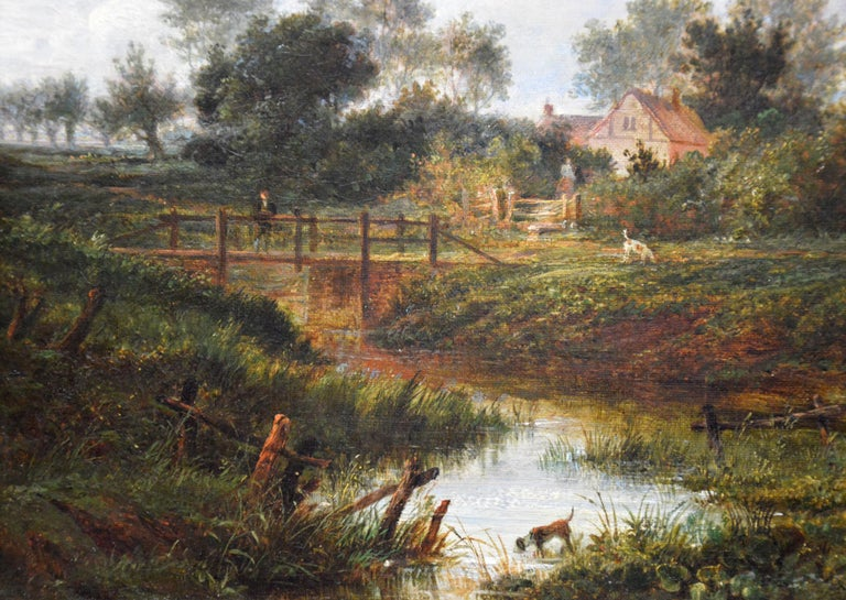 19th Century English Summer Landscape with Figures by a Stream For Sale 3