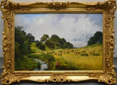 The Harvest - 19th Century Summer Landscape Oil Painting