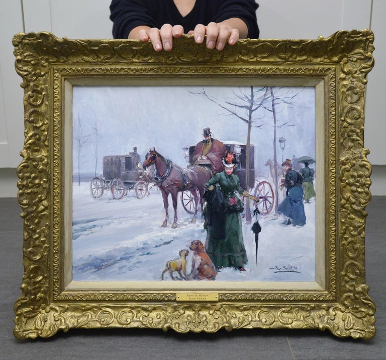 Paris in Winter - Post Impressionist Oil Painting of Belle Epoque France - Brown Landscape Painting by Juan Soler