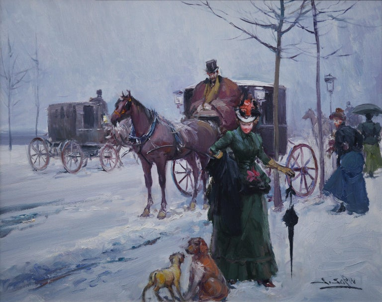 An original oil on canvas depicting a French Belle Epoque scene of 'Paris in Winter' by the popular Spanish Post-Impressionist painter Juan Soler (1951-). The painting is signed by the artist and hangs in a very good quality Montparnasse frame.   As