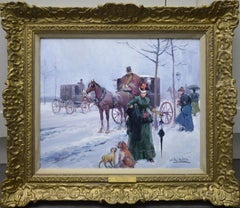 Paris in Winter - Post Impressionist Oil Painting of Belle Epoque France