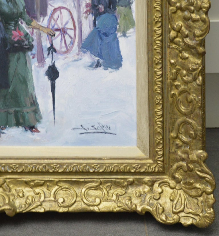 Paris in Winter - Post Impressionist Oil Painting of Belle Epoque France For Sale 5