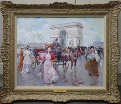 L'arc de Triomphe - Post Impressionist Oil Painting of Belle Epoque Paris