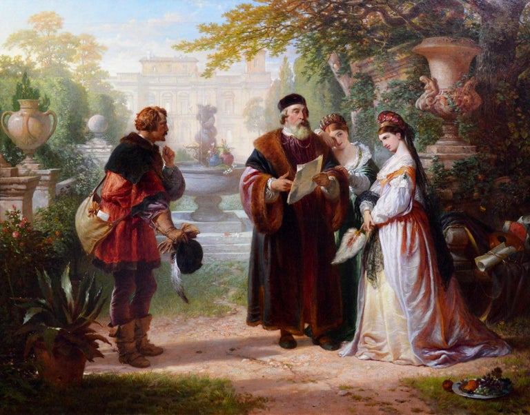 A very large fine 19th century oil on canvas depicting 'Katherine and Petruchio' in a scene from Shakespeare's 'The Taming of the Shrew' by the eminent Royal Academician Charles Robert Leslie RA (1774-1859). This superb, exhibition-sized Victorian
