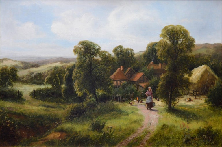 A Surrey Homestead - Victorian Painting by Frederick Carlton