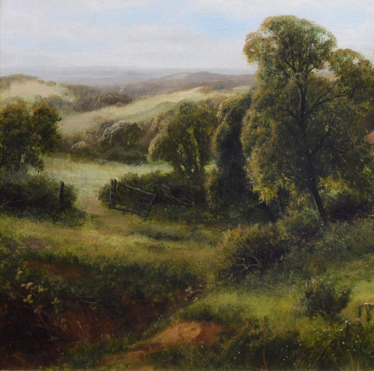 This is a large, fine 19th century English summer landscape oil on canvas depicting a young woman and livestock outside a farmstead on 'A Summer Afternoon' by the popular Victorian artist Frederick Carlton (fl.1880-1910). The painting is signed by