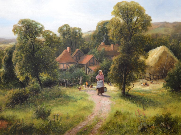 A Surrey Homestead - Brown Landscape Painting by Frederick Carlton