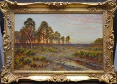Sunset on a Surrey Common - 19th Century Summer Landscape Oil Painting