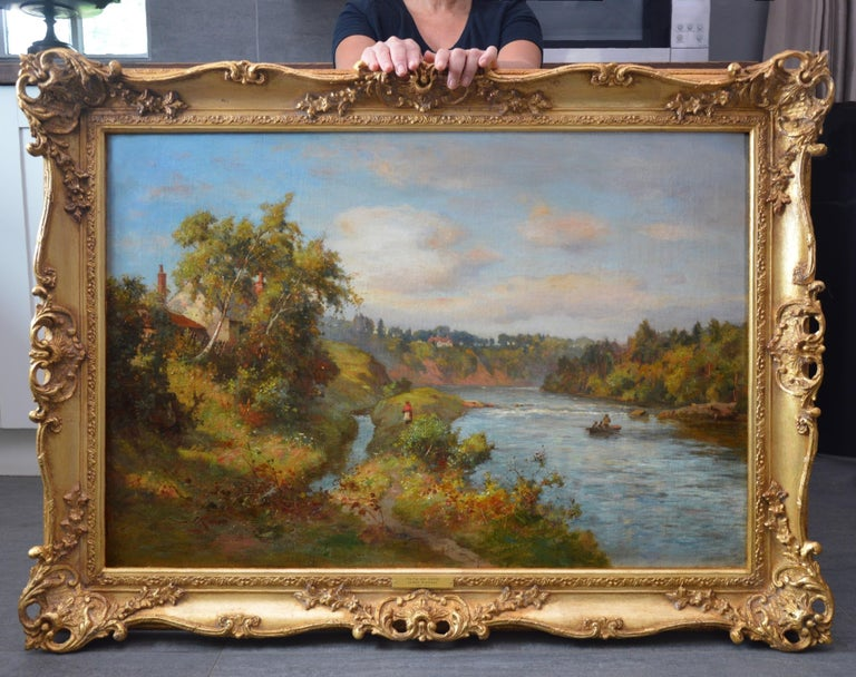 The River Tay near Stanley - 19th Century Scottish Oil Painting - Brown Figurative Painting by James Kinnear