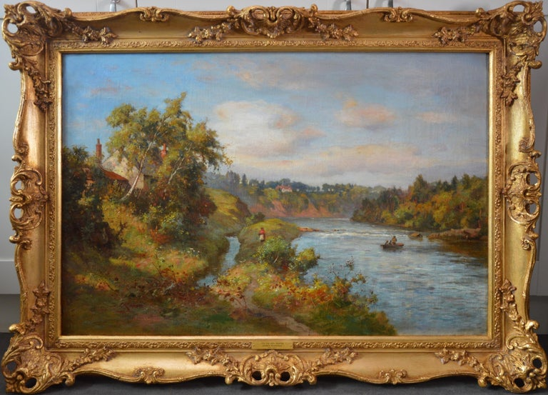 James Kinnear Figurative Painting - The River Tay near Stanley - 19th Century Scottish Oil Painting