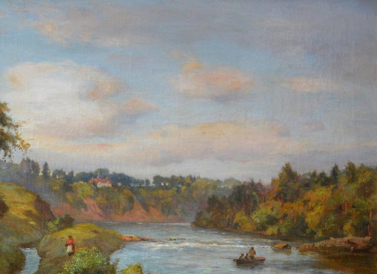 The River Tay near Stanley - 19th Century Scottish Oil Painting For Sale 2