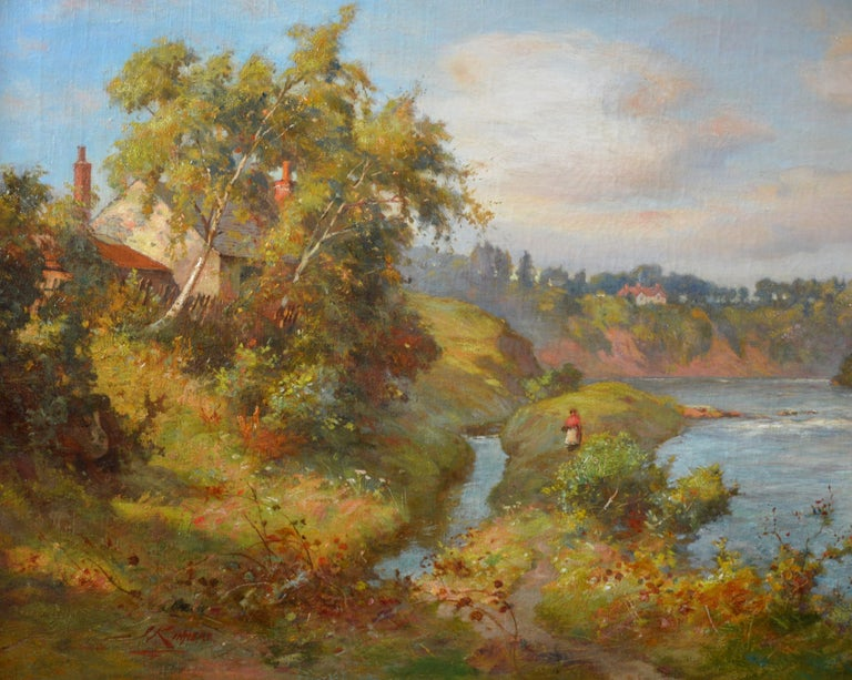 The River Tay near Stanley - 19th Century Scottish Oil Painting For Sale 1