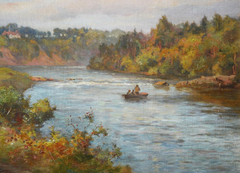 The River Tay near Stanley - 19th Century Scottish Oil Painting For Sale 3