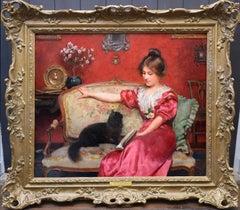 Chercher L'attention - Belle Epoque Oil Painting of Parisian Beauty & Black Cat