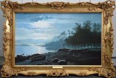 Moonlight, Lake Windermere - 19th Century Landscape Nocturne Oil Painting