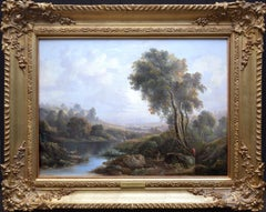 On the River Dee, Chester - 18th Century Landscape English Oil Painting