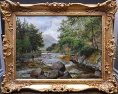 On the Lyn, North Devon - 19th Century River Fishing Landscape Oil Painting