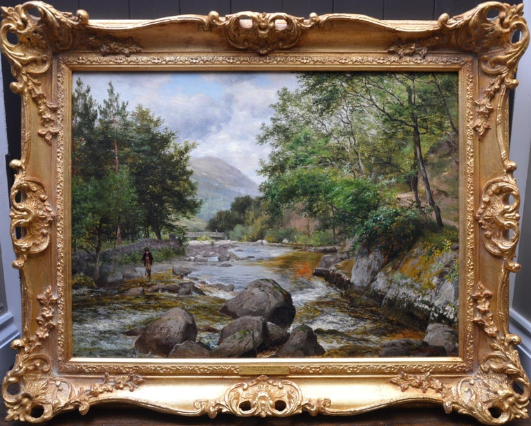 Charles Smith  Figurative Painting - On the Lyn, North Devon - 19th Century River Fishing Landscape Oil Painting