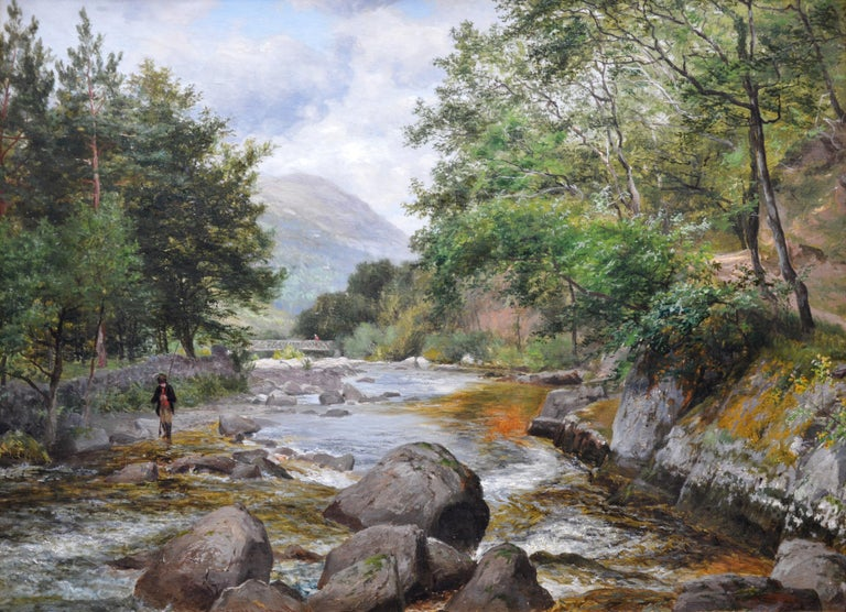 'On the Lyn, North Devon' by Charles Smith (1843-1917).  A large fine original 19th century river landscape oil on canvas depicting an angler fishing the River Lyn in North Devonshire by the eminent Victorian landscape artist Charles Smith