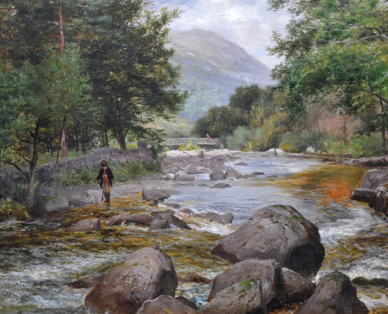 On the Lyn, North Devon - 19th Century River Fishing Landscape Oil Painting  For Sale 1