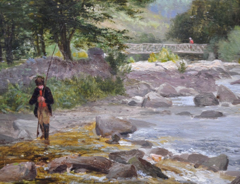 On the Lyn, North Devon - 19th Century River Fishing Landscape Oil Painting  For Sale 2
