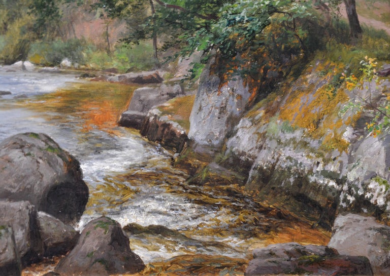 On the Lyn, North Devon - 19th Century River Fishing Landscape Oil Painting  For Sale 5