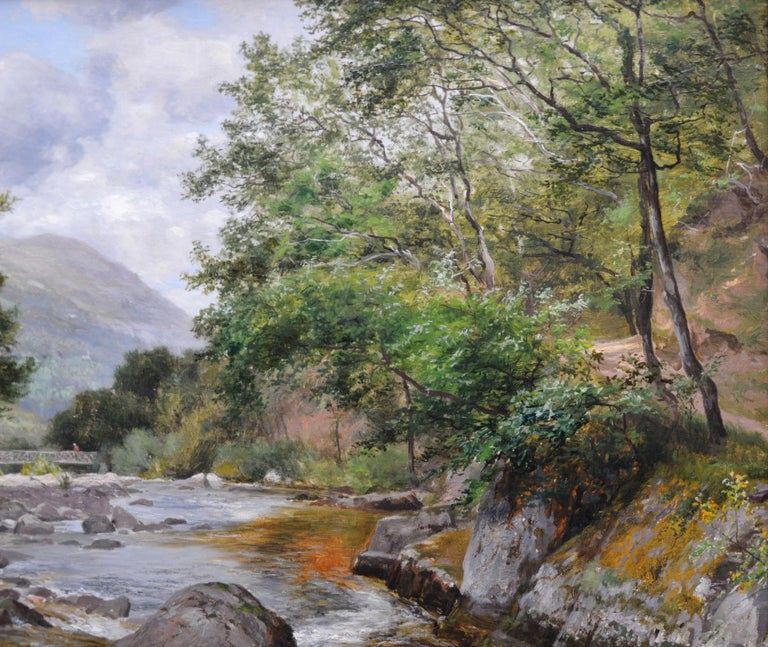 On the Lyn, North Devon - 19th Century River Fishing Landscape Oil Painting  For Sale 3
