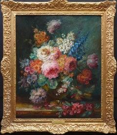 A Summer Arrangement - 19th Century Floral Still Life Oil Painting