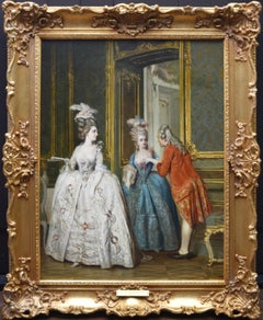 Marie Antoinette & Marie Thérèse at Versailles - 19th Century Oil Painting