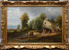 The Mill Stream - Large 19th Century English Landscape Oil Painting