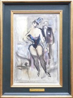 Post-Impressionist 1930s Babylon Berlin Bordello Scene of Cabaret Girl & Client