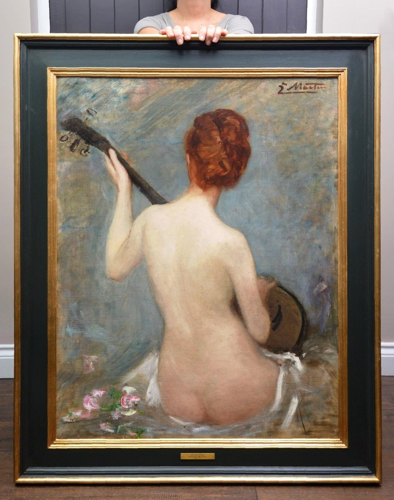 The Lute Player - 19th Century French Impressionist Nude Portrait Oil Painting - Gray Portrait Painting by Jacques Martin