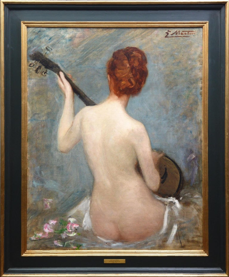 Jacques Martin Portrait Painting - The Lute Player - 19th Century French Impressionist Nude Portrait Oil Painting