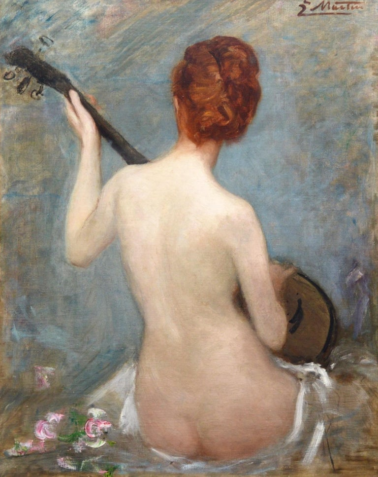 'The Lute Player' by Jacques Martin (1844-1910). This large 19th century French oil painting is signed by the artist and presented in a superb quality, newly commissioned, gold metal leaf Post-Impressionist frame. For centuries the lute has featured