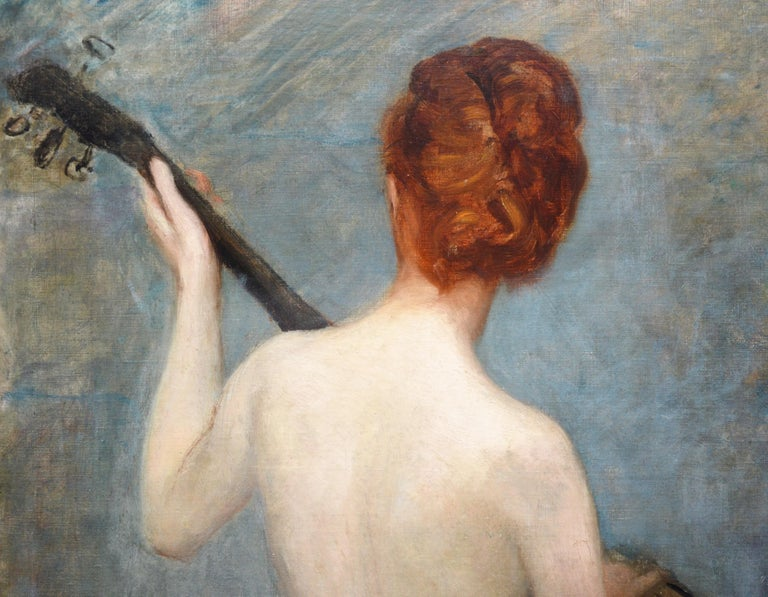 The Lute Player - 19th Century French Impressionist Nude Portrait Oil Painting For Sale 1