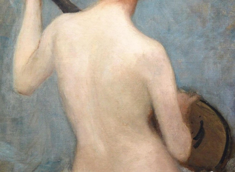 The Lute Player - 19th Century French Impressionist Nude Portrait Oil Painting For Sale 2