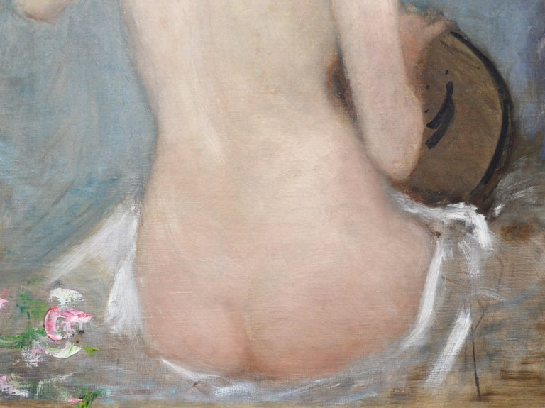 The Lute Player - 19th Century French Impressionist Nude Portrait Oil Painting For Sale 3