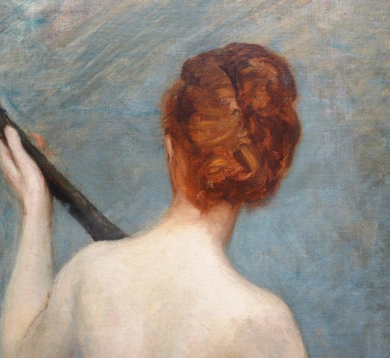 The Lute Player - 19th Century French Impressionist Nude Portrait Oil Painting For Sale 4