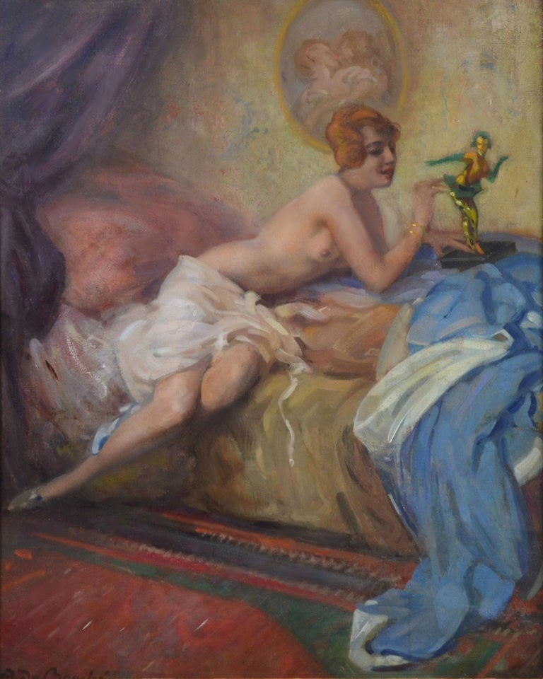Colombina - Large Impressionist Belle Epoque Oil painting of Semi Nude Girl  - Black Nude Painting by Arnulf de Bouche
