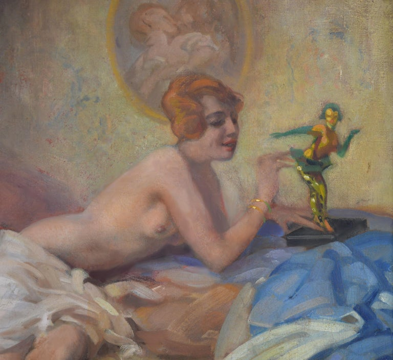 'Colombina' by Arnulf de Bouché (1872-1945). This large fine oil on canvas depicting a semi-naked young woman playing with a figurine of Harlequin is signed by the artist and hangs in a newly commissioned bespoke Impressionist frame. Colombina is