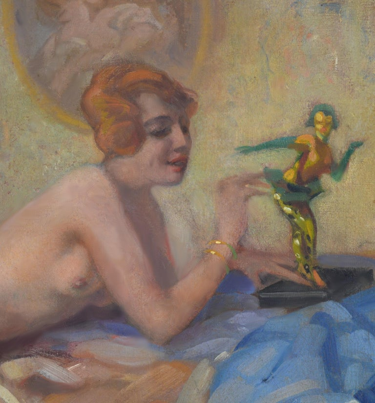 Colombina - Large Impressionist Belle Epoque Oil painting of Semi Nude Girl  For Sale 2