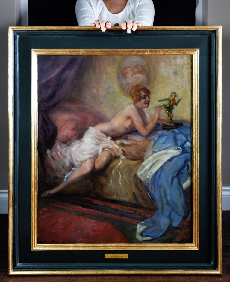 Colombina - Large Impressionist Belle Epoque Oil painting of Semi Nude Girl  - Painting by Arnulf de Bouche